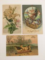 Lot Of 3 Antique Post Cards (1907-1915) Easter . Embossed, Posted