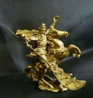 Chinese Fengshui Brass Warrior Guan Gong Guan Yu Hold Sword Ride horse Statue