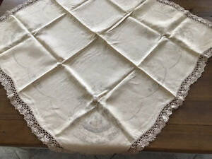 VINTAGE LINEN TABLECLOTH TO EMBROIDER,CRINOLINES,EDGE DONE!!!!
