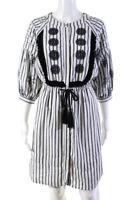Wiggy Women's Striped Long Sleeve Shift Dress White Black Size Small