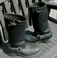 Slightly Used Pair of Black Leather BIKE BOOTS Motorcycle Boots (No Size)