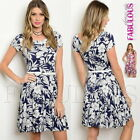 Sexy Floral Short Sleeve Dress Belt Party Evening Casual Size 6 8 10 12 XS S M L