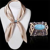 Bohemia bronzo antico argento placcato turchese clip spilla sciarpa gioielli PQ