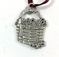 Longaberger Pewter Basket Ornament Tie On  Candy Cane 1986 Vintage