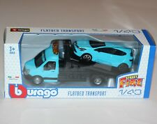 Burago - FLATBED TRANSPORT + RENAULT CLIO - 'Street Fire' Model Scale 1:43
