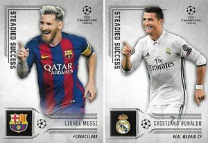 2016 TOPPS Champions League Showcase Messi Ronaldo Steadied Success Insert Cards