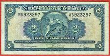 BANQUE NATIONALE DE LA REPUBLIQUE D'HAITI L. 1919 5TH ISSUE 2 GOURDES P#175 RARE