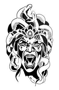 high detail airbrush stencil snake heads FREE UK  POSTAGE