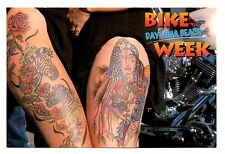 Bike Week Daytona Beach Postcard Florida Motorcycles Tattoos Indian Zebras Eagle