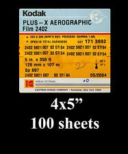 "KODAK PLUS-X AEROGRAPHIC Film 2402 4x5"", 100 sheets"