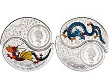 2012 FIJI Yin & Yang Silver Year of the Dragon Proof 2pcs set