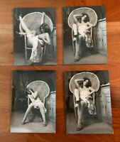 4 Austrian nude woman on Patio chair vintage art photo 7@5 In 1950:60