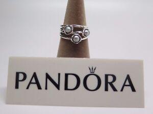 SALE New w Box Pandora Size 50  Three (3) Wishes Gray Pearl Ring 190606GP Grey