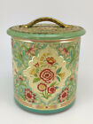 """Tin Canister Floral Embossed Teal Turquoise Kitchen Made in Holland Vtg 5"""" Tall"""