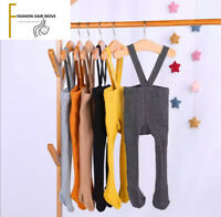 Baby Toddler Unisex Tights with Suspenders High Waist Cotton Bottoms