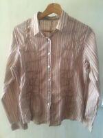 Sandwich Size 38 12 Pink Stripe Appliqué Cotton Long Sleeve shirt < T2452
