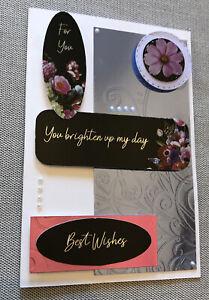 Handmade Quality Birthday Card Pretty Blue Flowers Female You Brighten Up My Day