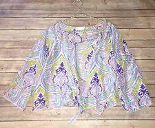 Soft Surroundings Plus Sz 1X Purple Print 100% Silk Front Tie Blouse Shrug J
