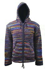 Handmade Fleece Lined Winter BLUISH MIX unisex thick woolen Nepalese Jacket