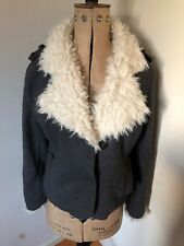 Ladies Jaune Rouge Wool Shaggy Faux Fur Collared Grey Jacket Size M