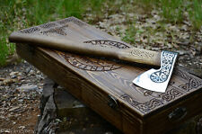 Custom steel axe with engraving & wooden box, camping hatchet tool, collectible