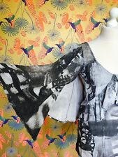 BN  Vintage 90's Dress Short 8 Tailored Cotton HUGE CAPE BUTTERFLY SLEEVES LOOK