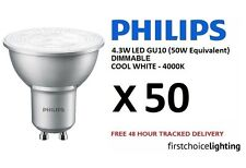 50 x Philips Master 4.3W (50W) DIMMABLE GU10 LED Spot Lamps Bulbs Cool White