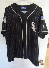 Vintage 1990's Chicago White Sox Starter Black Pinstripe Baseball Jersey SZ -  L