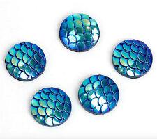 20 x 12mm Resin Mermaid Fish/Dragon Scale Beads Flat Bottom Cabochon