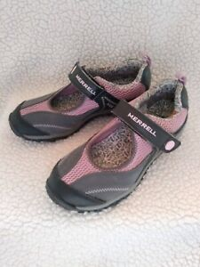 GIRL'S MERRELL CHAMELEON SHOES MARY JANE PINK GREY GRAY SZ 4 ADJUSTABLE STRAP