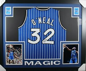 SHAQUILLE O'NEAL (Magic blue HOF) Signed Autographed Framed Jersey Beckett