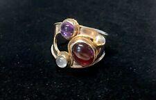 Beautiful ModernIst Artisan Sterling Silver Garnet Amethyst Ring