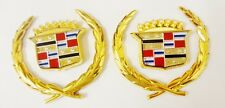 "2 BRAND NEW Cadillac  ""WREATH & CREST"" Emblems 24K GOLD PLATED"