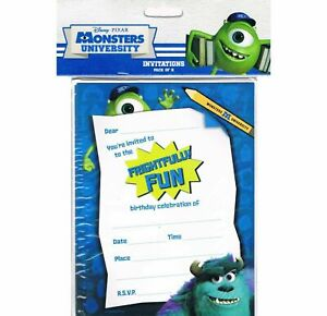 Monsters Inc / Uni Party Invitations with Envelopes 8pk