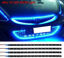 Car Interior Atmosphere Lamp Footwell Floor Light 4 Pcs Blue Super Bright 15 LED