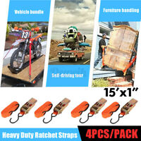 4PCS Ratchet Tie Down Strap Cargo Trailer Truck Roof Rack Motorbike 4.5m Orange