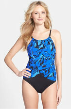 NEW $156 MAGIC SUIT By MIRACLESUIT Lisa Blue One Piece Swimsuit 454755 Size 10