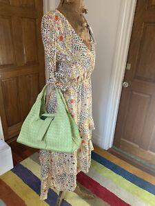 Bottega Veneta Lime Green Bag Intrecciato Woven Lambskin Leather Vintage