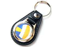 VOLLEYBALL Sport Quality Leather and Chrome Keyring