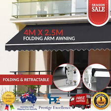 Outdoor Folding Arm Awning Retractable Sunshade Canopy Shade Sail Grey 4M x 2.5M