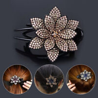 Retro Women Duckbill Flower Hair Clips Rhinestone Hairpin Hair Claws Headwear