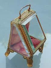 ANTIQUE FRENCH BEVELLED EDGE GLASS ORMOLU POCKET WATCH JEWELLERY BOX CASE