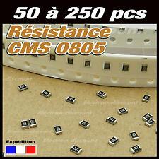 résistance CMS 0805: 100 120 150 180 220 270 330 390 470 560 680K 820 ohms