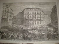 Entrance of General Prim into Madrid Spain 1868 old print ref W1