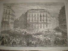 Entrada del general Prim en Madrid España 1868 antiguos impresión ref W1