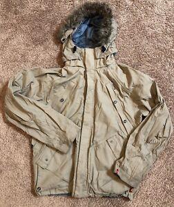 Men's Four Square Snowboard Jacket Coat Beige Hooded Large