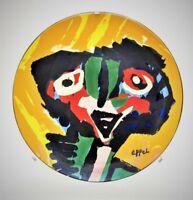"""KAREL APPEL Original SIGNED No. Ltd. Edition Glazed Art Plate Sculpture 58/999"""""""