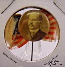 """Early Political Campaign Pinback Button with American Flag 7/8"""""""