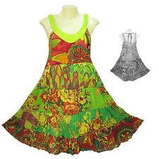 Peasant Boho Hippie Tier Sleeveless Colourful Short Cotton Dress - YO760