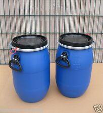 Fass, Tonne, 2 x 30 Liter Kunststoff, blau, Deckel mit Dichtung NEU & UNBENUTZT
